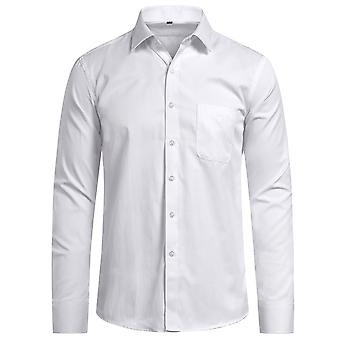 Yunyun Men's Business Lapel Solid Color Slim Light Twill Long Sleeve Shirt With Pocket