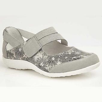 Boulevard Poppy Ladies Suede Wide Fit Mary Jane Shoes Grey Floral