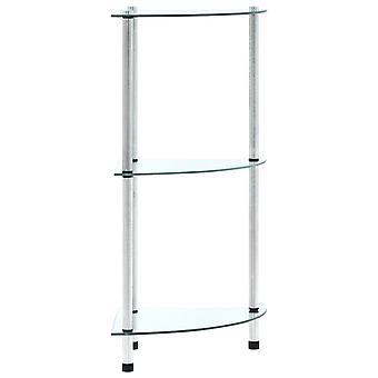 vidaXL shelf with 3 shelves Transparent 30x30x67 cm tempered glass