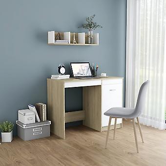 vidaXL bureau blanc et sonoma-chêne 100×50×76 cm panneau de particules