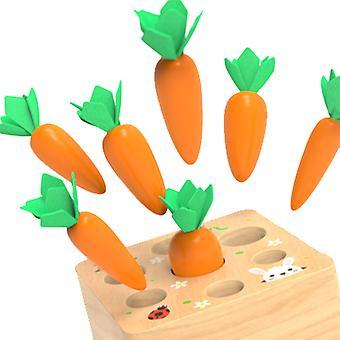 Tahání mrkvové puzzle dřevěné děti's vkládání mrkvové hry 1-5 let chlapci a dívky hračky