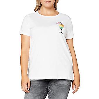 ONLY Carmakoma CARCARIBBEAN Life Sunset SS Reg Tee Shirt, Bright White, S Woman