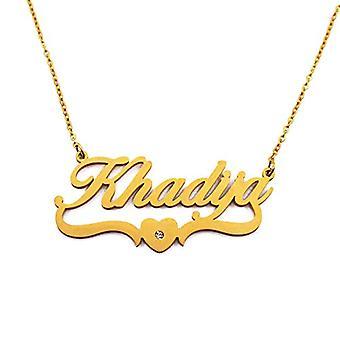 Khadija, halsband med personligt namn, hjärtformad, guldpläterad
