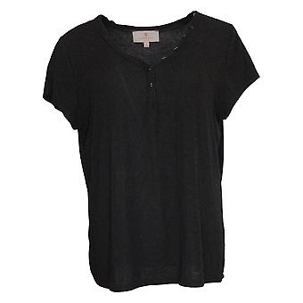 Laurie Felt Women's Top Fuse Modal Ribbed Knit Henley Black A375437