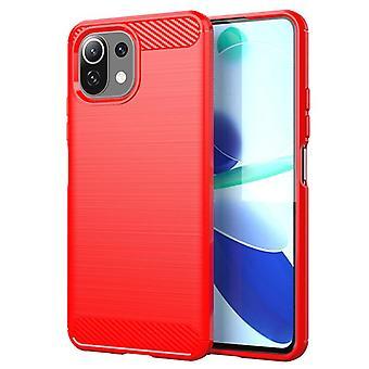 Tpu carbon fibre case for xiaomi 11 red mfkj-76