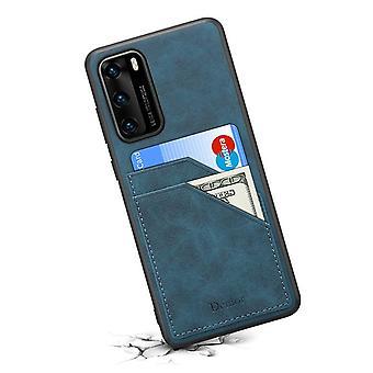 ארנק עור כרטיס חריץ במקרה עבור huawei p40 רטרו כחול pc2969