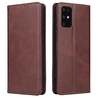 Flip folio leather case for samsung a32 5g brown pns-200