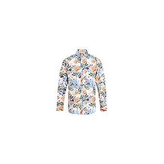 JSS Butterfly Print White Regular Fit 100% Cotton Shirt