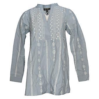 DG2 by Diane Gilman Women's Top Long Sleeve V-Neck Blue 741043