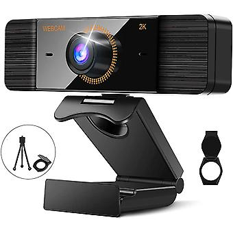 2K Webcam with Microphone, Full HD 2K 1440P Web Camera with Webcam Cover and Tripod, 4 Million Pixels PC Webcam with Auto Focus, Plug & Play, PC Webcam for Conference Video Calls(Black)