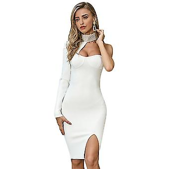 M white summer sexy strap single long sleeve evening dresses for women party vintage dress fa1325