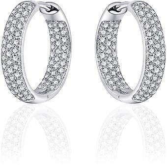 Gisser Jewels - Örhängen - Örhängen med gångjärn - Ljus rullad med Zirconia - 4mm Bred - 18mmØ - Roterat Silver 925