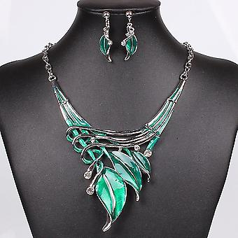Necklace Earring Crystal Jewelry Set(Green)