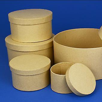 10,5 cm rund høj papir mache boks med låg til at dekorere | Papier Mache Kasser