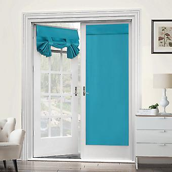 2X french door curtains thermal insulated door panel privacy door shade tricia curtain for door window curtains, teal