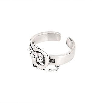 4PCS Silver plating Engagement Rings for Women Vintage Creative Chain Tassel Belt Buckle Elegant