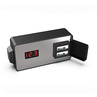 12/24v Waterproof Multifunctional Dual Usb Charger With Clock Voltmeter
