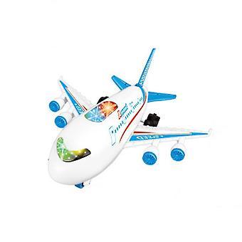 Kinderen speelgoed vliegtuig passagiersvliegtuig model met licht en geluidseffecten (blauw)