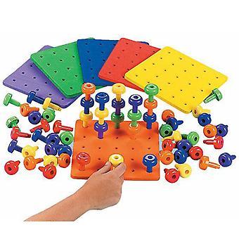 Kreatív gyerekek korai tanulás köröm építőelem halmozódó peg tábla készlet kisgyermekek gyermekek oktatási játékok gyerekeknek ajándékok