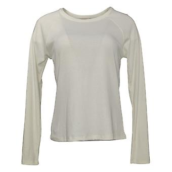 Maiden Form Women's Top Ribbed Long Sleeve Tee Ivory 631063