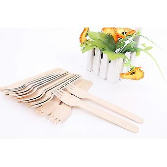 100 Wooden Fork Forks 16.5 Cm - Biodegradable Disposable Tableware 100 Pieces - Great For Parties