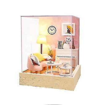 אביזרי בית בובות מעץ diy מורכב סושי קינוח חנות מיניאטורה עם רהיטים בובה בית צעצועי קאסה עבור