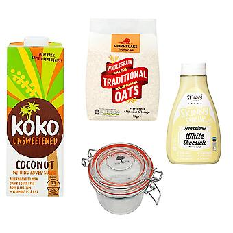 Breakfast Kit Seven Trees Farm   Glass Jar 350ml, 2 x Coconut Milk Dairy Free Unsweetened 1L, Traditional Oats 1kg and 1 x The Skinny Food Co White Chocolate Syrup Free Sugar