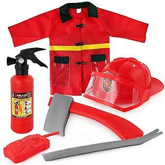 6pcs kinderen brandweerman kostuum peuter brandweerman aankleden partij verjaardagscadeau