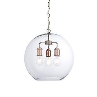 Endon Hal Lanterna pendente in stile industriale, peltro invecchiato e rame con paralume in vetro a cupola