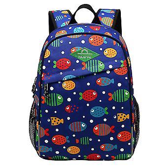Fish Print Lightweight Kids Book Bag