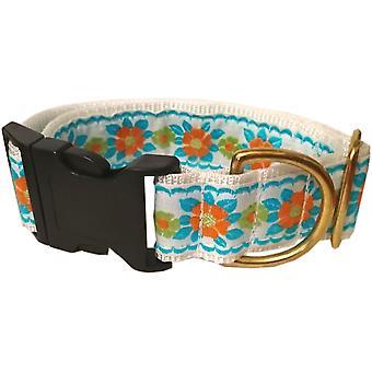 "Dogcrafts handgemaakte Side Clip blauw & oranje Jacquard bloemen lint 40mm 33cm - 44cm (13""-17"") hond kraag"