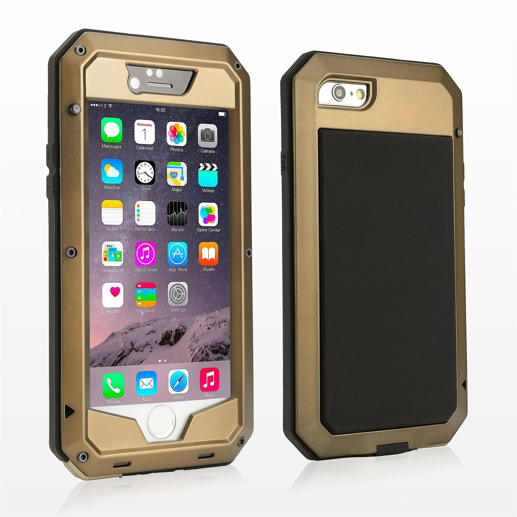 Heavy duty metal shock proof case cover for Apple iPhone 6 6S - Gold