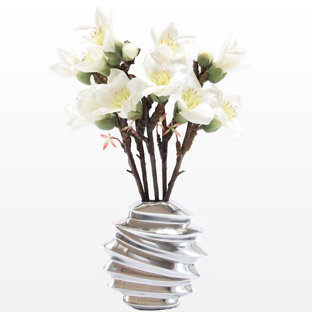 Saffronstem Artificial Flowers - White Kapok Spray Set of 3, Made from Latex, Real Touch and Look