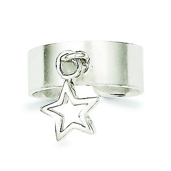 925 Sterling Argento Solido Lucido Star Dangle Toe Ring - 2.3 Grammi