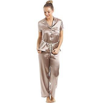Camille Taupe lyhythihainen turvavyötä Satiini Pyjama setti