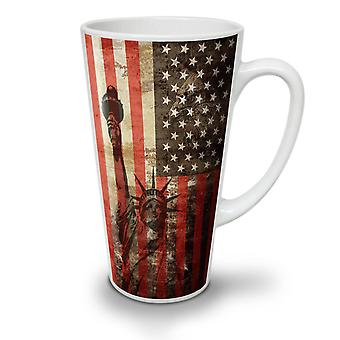 New York Flag Freedom NEW White Tea Coffee Ceramic Latte Mug 12 oz | Wellcoda