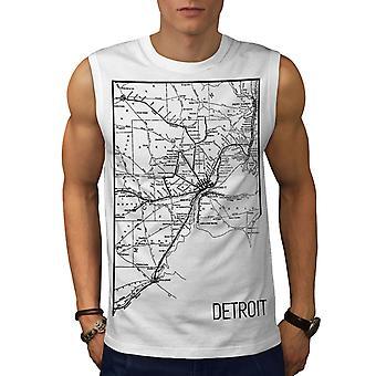 America City Detroit Men WhiteSleeveless T-shirt | Wellcoda
