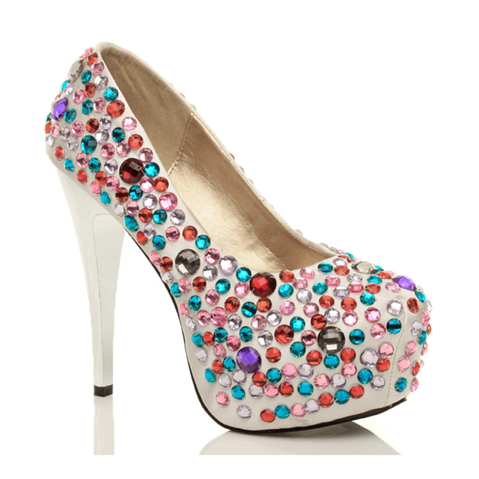 Ajvani damskie wysoki obcas platforma ślub studniówkę strony ślubne klejnoty diamante sąd buty pompy K94RY