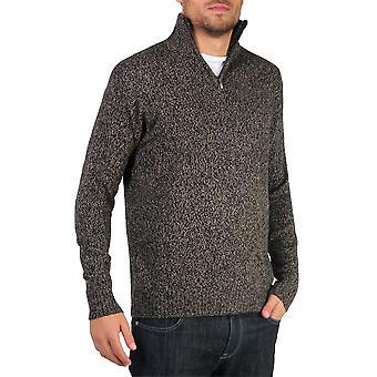 KRISP Herre blød uld Strik halv lynlås tragt hals jumper sweater top Grandad pullover top