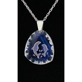 Ice Blue Triangular Dolphin Crystal Pendant