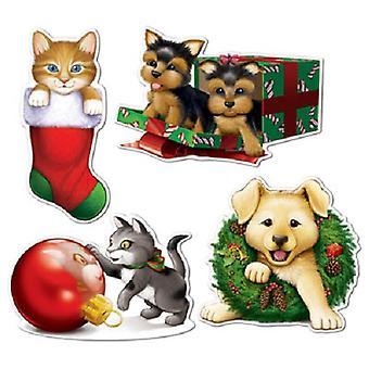 Joulu pentu & kissanpentu pahvi leikattuja
