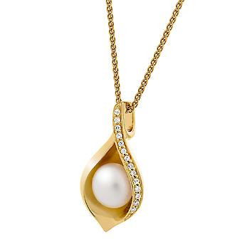 Orphelia Silver 925 Pendant Gold Fresh Water Pearl Zirc  ZH-7234/G