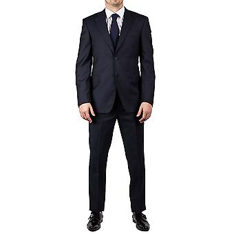 Luciano Barbera Club mannen Slim Fit wol twee knop pak Navy