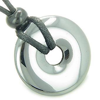 Amulet Lucky Magic Donut Hematite Gemstone Crystals Evil Eye ProtectiGood Luck Pendant Necklace