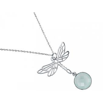 Gemshine kvinnors halsband hänge 925 silver LIBELLE Chalcedon Sea Green