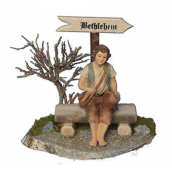 Bethlehem-plate with Bank and Shepherd for crib Nativity crib accessories