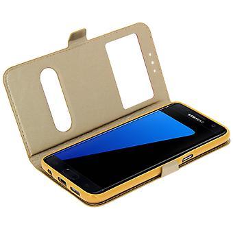 Caja doble de pie tapa la ventana para Samsung Galaxy S7, carcasa TPU - oro
