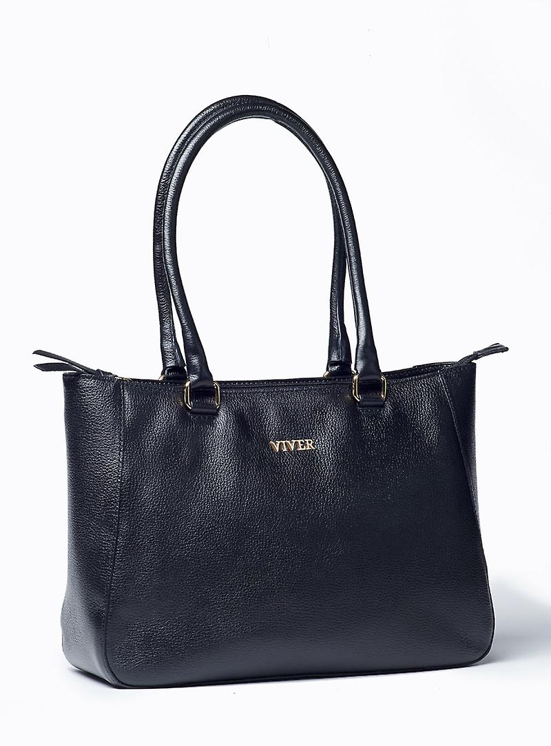 Viver Leather Shoulder Bag Tutta Black