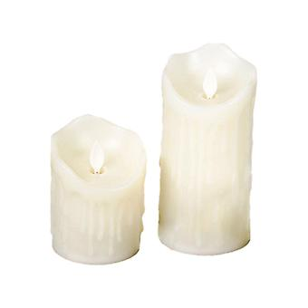 2 Flameless White Wax Realistic Glowing Candles - By TRIXES
