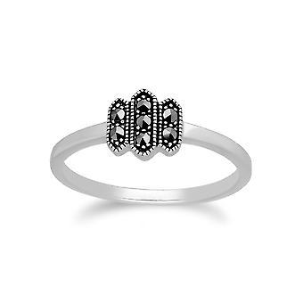 Gemondo Sterling zilveren Marcasiet Triple Octagon Design Ring